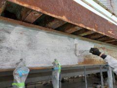 橋梁塗り替え工事 塗膜剥離作業